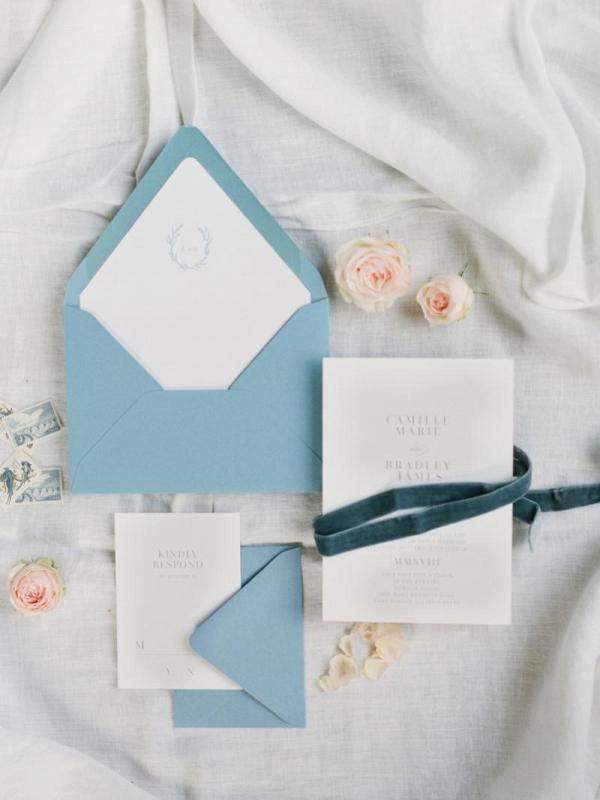 Elegant white and blue invitation