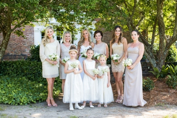 Champagne and off white bridesmaid dresses