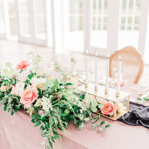 Pink and peach wedding table