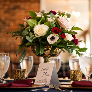 Classic burgundy wedding centerpiece