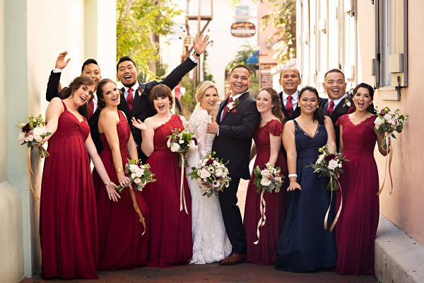 Wedding party in burgundy and navy