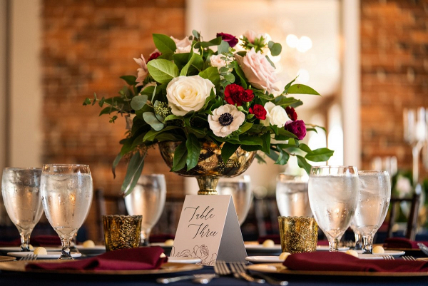 Classic burgundy wedding centerpiece
