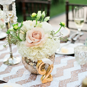 Peach and gold centerpiece
