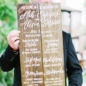 Handlettered wood ceremony program