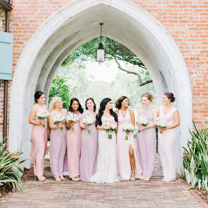 Mismatched light pink bridesmaid dresses