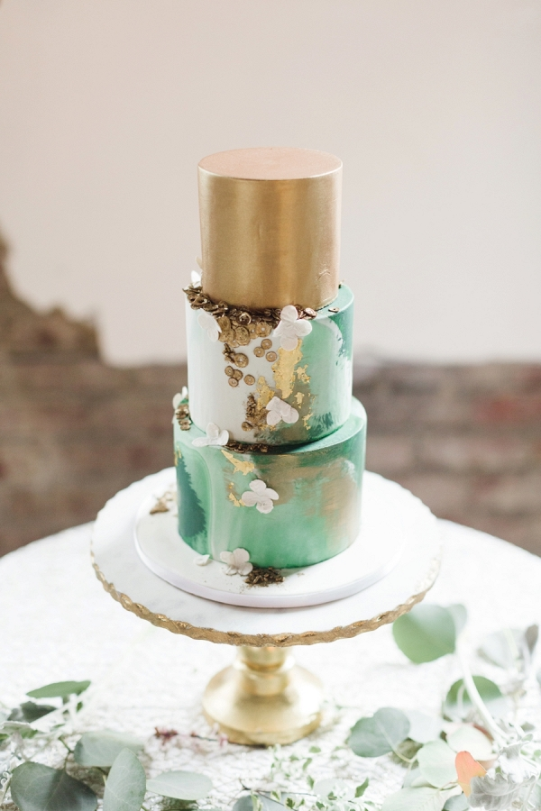 Green and gold wedding cake on Every Last Detail