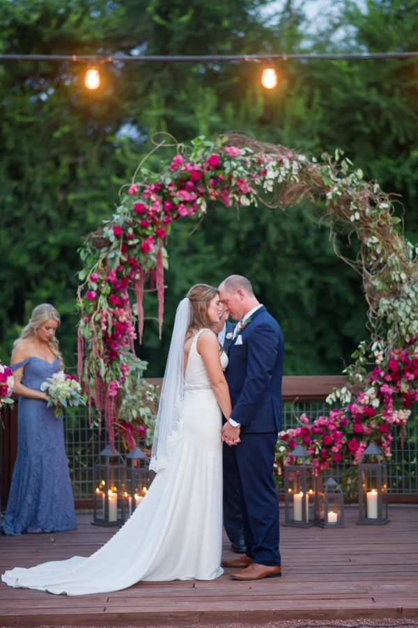 red, pink, and lavender wedding ceremony on Every Last Detail