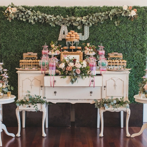Vintage styled wedding dessert table