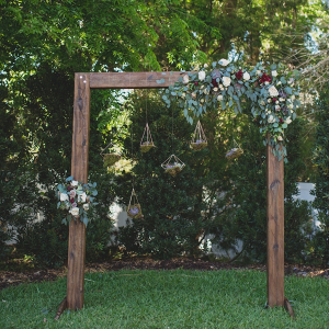 Wooden ceremony backdrop arch
