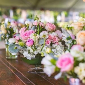 Pink vintage garden centerpiece