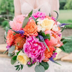 Colorful peony bridal bouquet