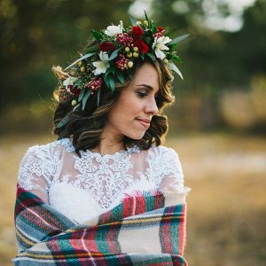Bride in flower crown on Every Last Detail