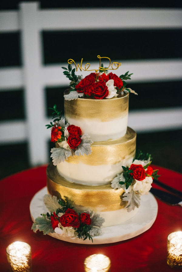 Red and gold cake on Every Last Detail