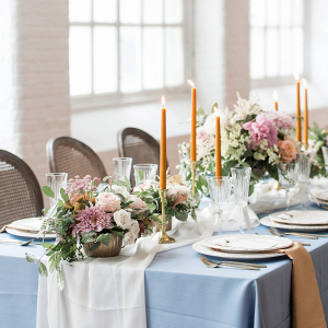 Light blue and peach wedding tablescape