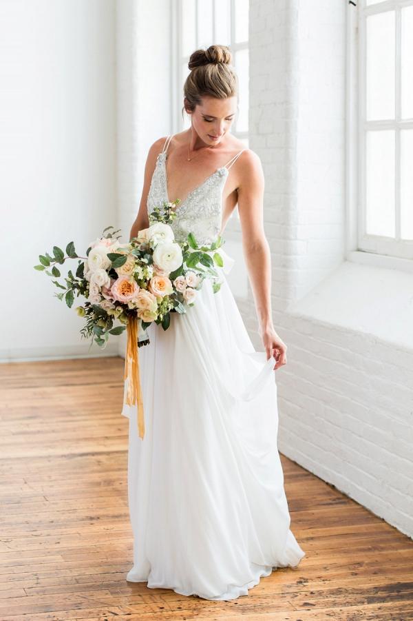 Ballet bride with peach bouquet