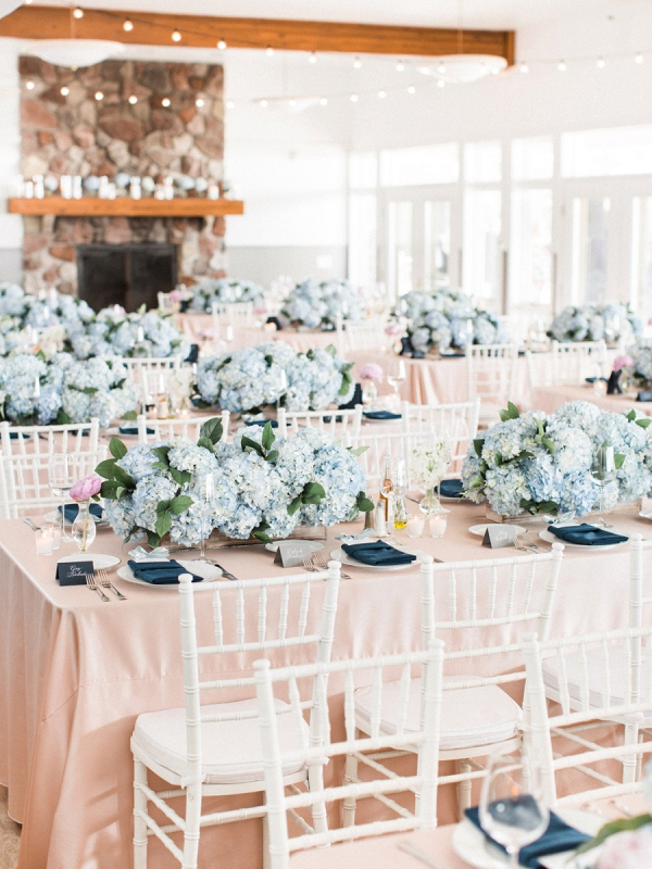 Classic pink and blue wedding reception