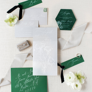 Green and light gray wedding invitation suite