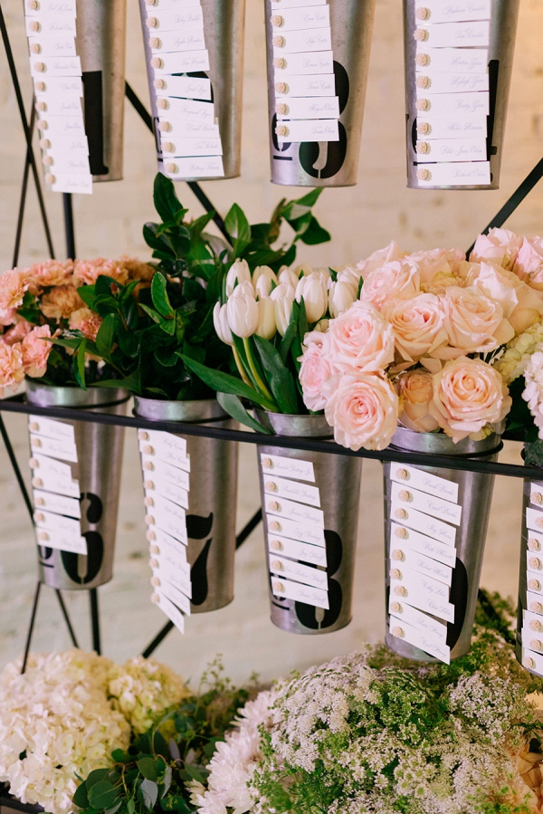 Flower bucket escort card display