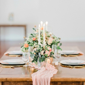 Peach wedding table