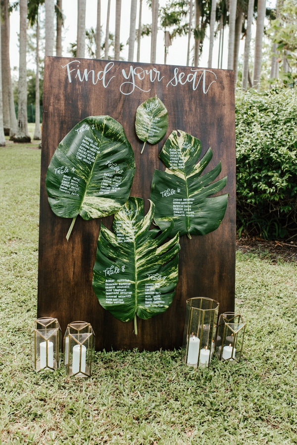 Tropical palm leaf escort display