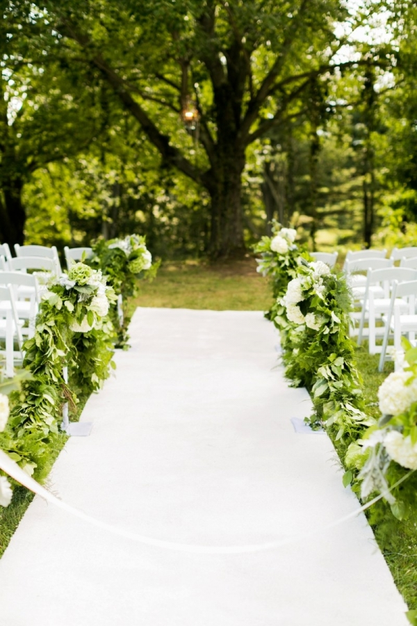 Greenery ceremony aisle decor