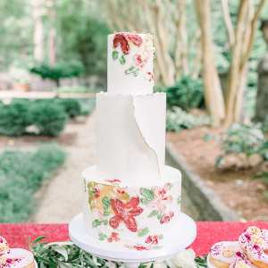 Painted floral print wedding cake