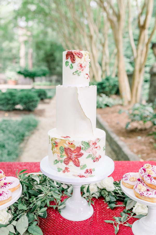 Painted floral print wedding cake