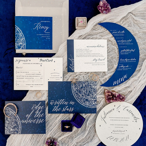 Celestial inspired wedding invitation suite