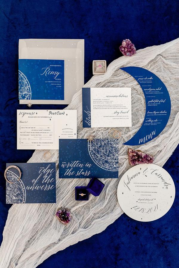 Celestial inspired wedding invitation suite