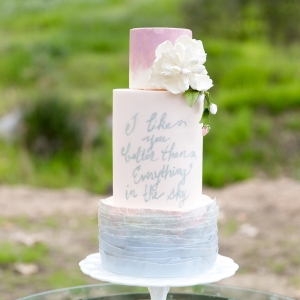 Blush and blue wedding cake