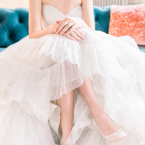 Bride in light gray tulle wedding dress
