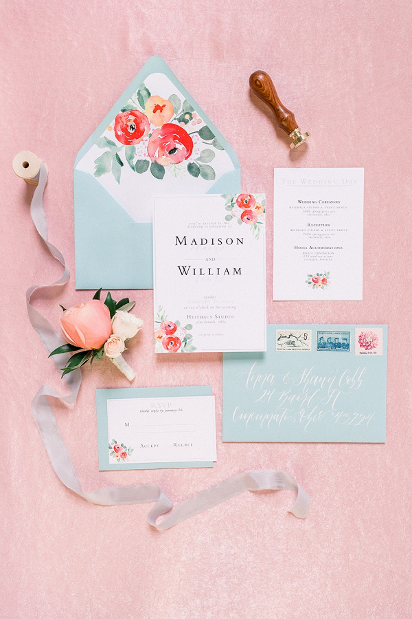 Teal and coral floral wedding invitation