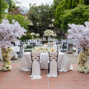Classic all white outdoor wedding reception