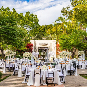 Classic all white outdoor LA wedding reception