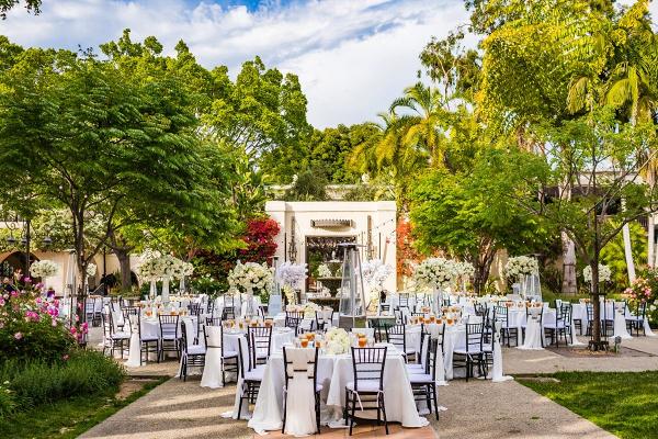 Classic all white outdoor LA wedding reception