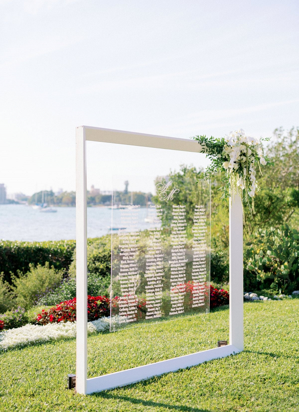 Modern acrylic wedding seating chart