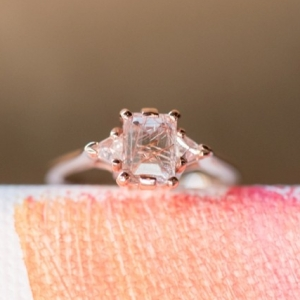 Rutilated quartz engagement ring