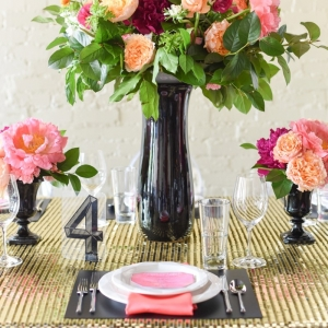 Pink, orange and black centerpiece