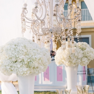 Hydrangea centerpieces and crystal chandelier