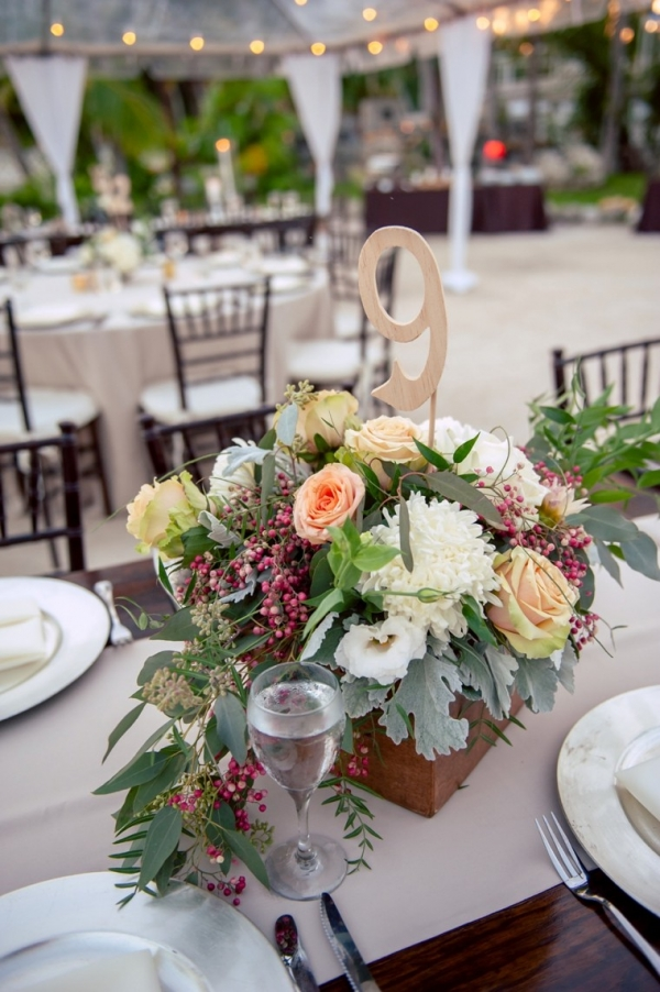 Centerpiece with natural wood table number