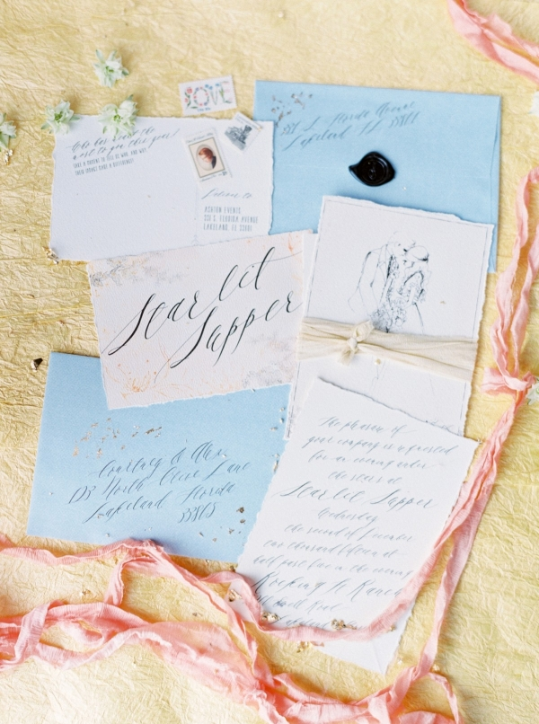 Yellow and blue wedding invitation