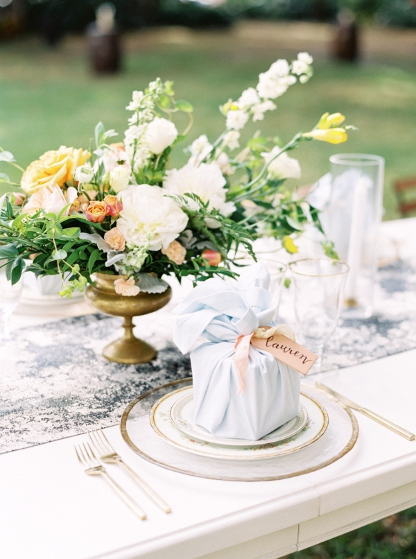 Yellow and pale blue wedding design