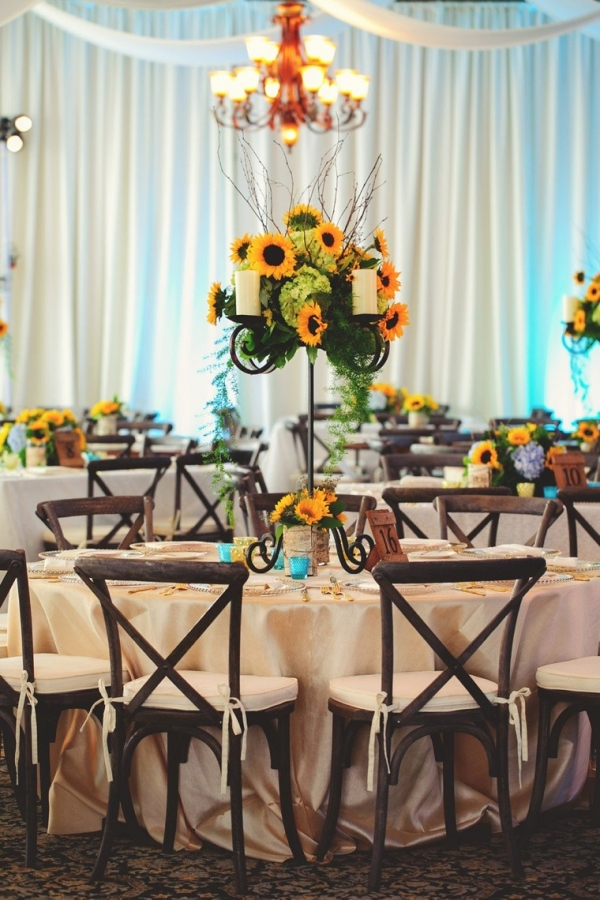 Yellow and green sunflower centerpiece
