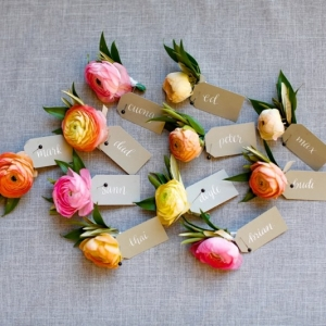 Yellow & Pink Ranunculus Boutonnieres