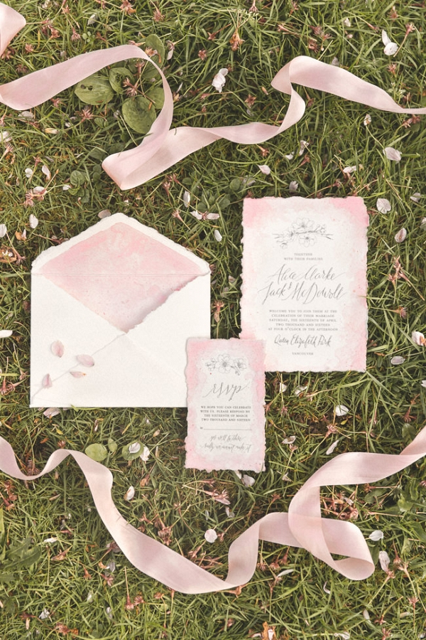 Pretty Blush Pink & Cream Wedding Invitations