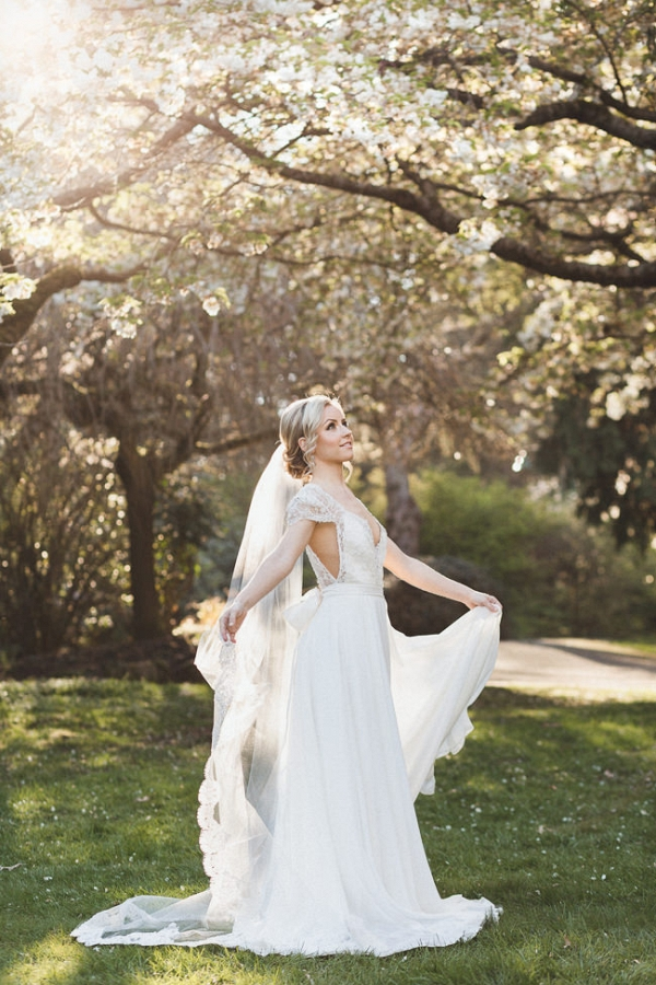 Bride in Beautiful Lace Wedding Dress