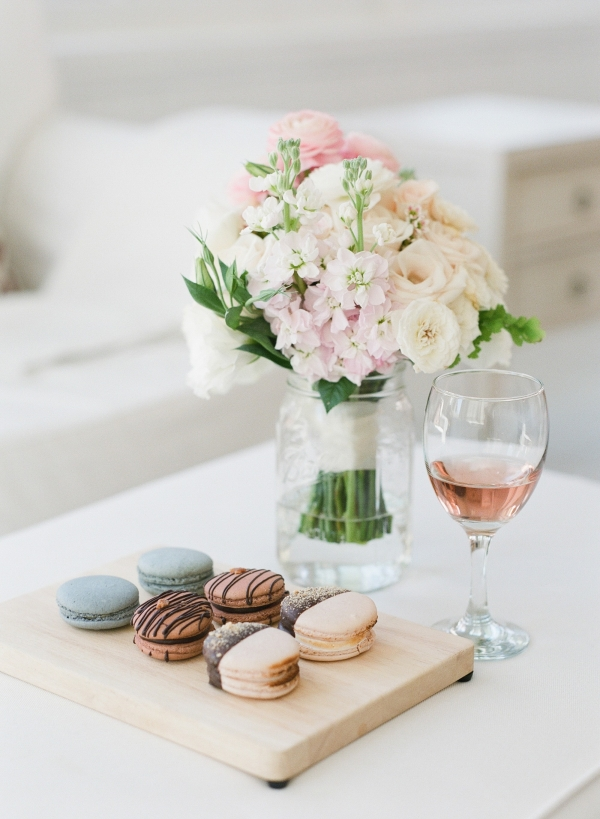 Soft Colored Wedding Bouquet With Macarons