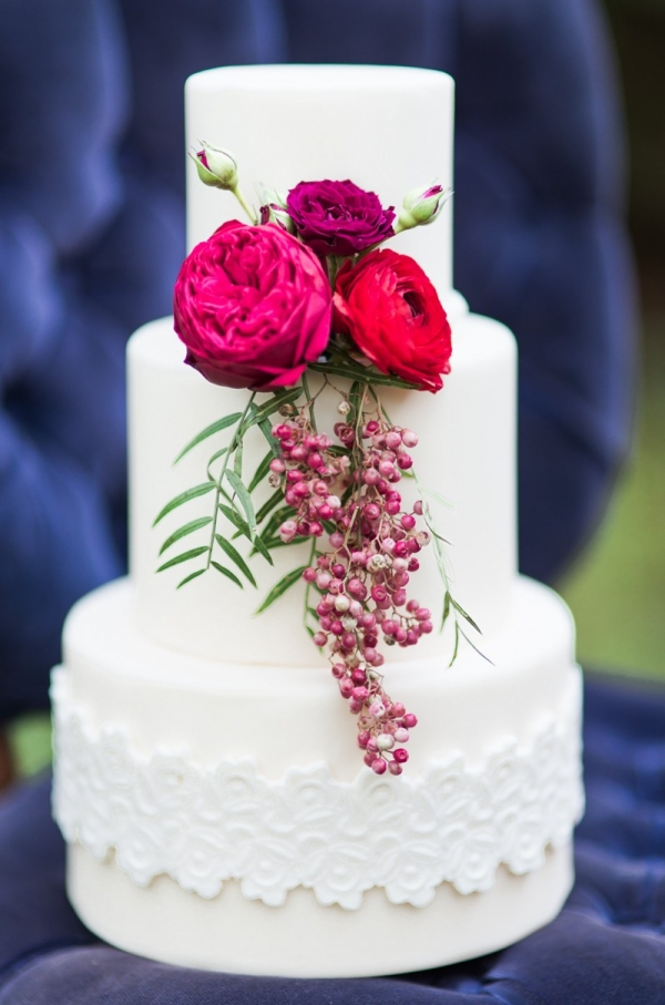 Simple White Cake With Colorful Flowers