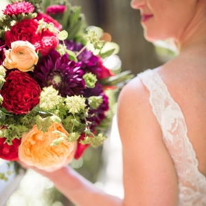 Treehouse Bride With Colorful Bouquet