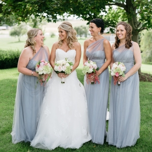 Bridesmaids In Gray-Blue Dresses